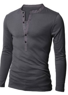 Doublju Mens Casual Long Sleeve Henley Shirts #Mens #Casual These would look soooo good on my hubby! :)