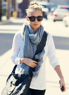 I love the way scarves finish off an ordinary outfit