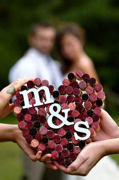 Mr. & Mrs. wine cork heart. Photo by DCPG Photography for The Boho Wedding Blog