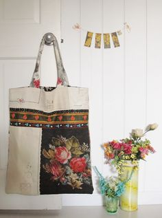 dottie angel: market bag inspiration-made from bits and pieces of old linens and ribbons