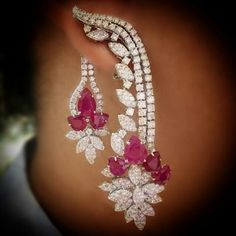 At @imperialejoyeros.Make A Statement. Fine Ruby & Diamond Earrings. Exclusively at Imperiale. #GeneracionesDeExcelencia