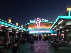 Disney Land Cars Land Flo's V8 diner at night