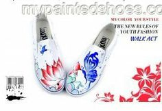 Butterflies over Flowers Hand Painted Slip-on Canvas #Shoes