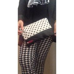 Calf Hair Polka Dot Clutch w/ Leather Bottom/Back White calf hair featuring black polka dots paired with a supple leather bottom panel & matching leather backside. Fully lined, zipper top. Add a tassel from my listings. NO PP NO TRADES Ellebee206 Bags Clutches & Wristlets