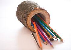 Titolare di penna e matita in legno arredamento casa di DINDINTOYS
