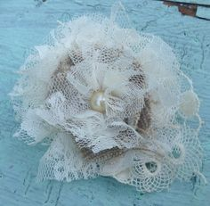 Burlap Linen & Ivory Lace Rustic Fabric Flower Hair Clip, Bridal Flower Bobby Pin, Girls Flower Hair Bow, Lace Bridal Appliqué, Burlap Lace on Etsy, $12.00