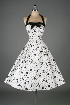 Vintage 50's black & white cotton floral and dots print halter dress:: Vintage Fashion:: Retro Style:: Pin Up Girl