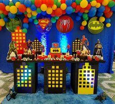 ideas para fiesta infantil de super heroes ideas for children's party super heroes Superman Birthday Party, Avengers Birthday, 6th Birthday Parties, Batman Party, 25th Birthday, Birthday Ideas, Superman Party Decorations, Birthday Party Decorations, Super Hero Decorations