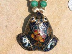 Hey, I found this really awesome Etsy listing at https://www.etsy.com/listing/77970769/lapis-malachite-cloisonne-frog-necklace