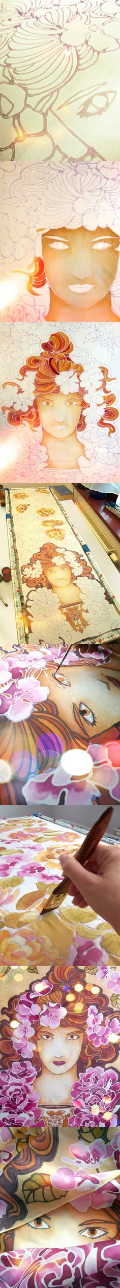 Step by step hand painted silk scarf 'Mucha Rose' by Luiza Malinowska Minkulul…