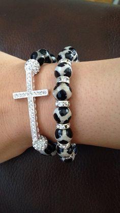 Cheetah print bracelet set sideways cross and beaded layering bracelet combo on Etsy, $18.00