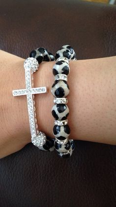 Cheetah print bracelet set sideways cross and beaded layering bracelet combo on Etsy, $18.00