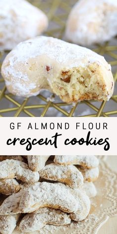 Gluten-Free Almond Flour Crescent Cookies These gluten-free almond flour crescent are a healthy take on my nanny's recipe. Each cookie only has about 60 calories and 2 grams of sugar plus they can easily be made Gluten Free Almond Cookies, Almond Flour Cookies, Gluten Free Deserts, Almond Flour Recipes, Gluten Free Sweets, Foods With Gluten, Desserts With Almond Flour, Almond Flour Biscuits, Healthy Gluten Free Bread Recipe