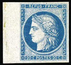 Frankreich, Scott 4b - Frankreich, 1849, Ceres, 20c blau auf gelblich, nicht ausgegebene. Einzelmarke mit linkem Rand, ohne Gummi, wie verausgabt, breitrandig, kräftige Farbe, sehr fein. Scott Nr. 4 b. Maury Nr. 8; Euros 3,300 ($4, 560).