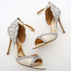 On fire!!  Badgley Mischka Roxy Wedding Shoes. Pure vintage glamour...Roaring 20's style with sparkle at the toe and heel, finished with an adjustable ankle strap.