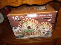 NIB THOMSON POTTERY 16 PC DINNERWARE SET COUNTRY HOME DESIGN