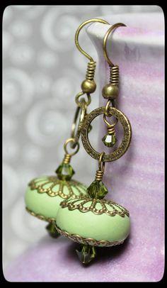 2015/05/15 Handmade Jewelry Earrings Beaded Olive Sage Green by Fanceethat