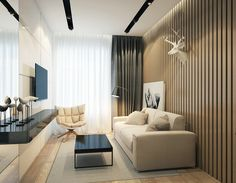 Apartament in Moscow on Behance Tv Wall Design, House Design, Minimalism, Sweet Home, Photo Wall, Interior Design, Bedroom, Moscow, Furniture