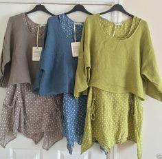 Señoras Italiano lagenlook Lino spotted 2 Piezas En Capas Vestido De Bolero Top establecidos 10-16