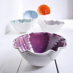 Ceramic Flower Bowls 2 cup stackable