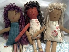 Adorable cloth dolls with yarn Hair by sandytoescreations on Etsy