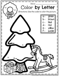 Color by Letter page - Preschool Christmas Worksheets