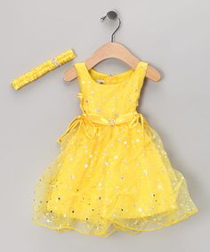 Shanil Yellow Star Tulle Dress & Headband - Infant & Toddler | zulily