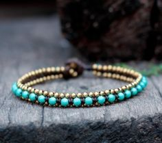 Turquoise Bead Brass Anklet by brasslady on Etsy