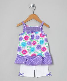 Take a look at this Purple Flower Tunic & White Shorts - Infant, Toddler & Girls by Young Hearts on #zulily today!