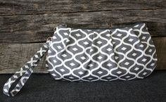 Graphite Grey Geometric Wristlet / Clutch by SweetPeaTotes on Etsy, $27.00