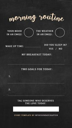 Morning routine story template
