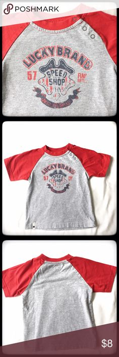 Boys Lucky Brand Tee Stylish Lucky Brand tee for your hip toddler! Like new condition! Made from 60% cotton and 40% polyester. Three snaps one front for added detail and ease while dressing. Lucky Brand Shirts & Tops Tees - Short Sleeve