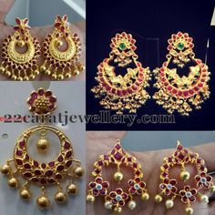 Pretty 22 carat gold light weight earrings and chandbalis with blood rubies, polki diamonds all over, Gold balls hanging throughout the b. Gold Rings Jewelry, Ruby Jewelry, India Jewelry, Trendy Jewelry, Jewelery, Ear Jewelry, Temple Jewellery, Fashion Jewelry, Women's Fashion