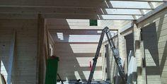 Weiter gehts mit dem Holzhaus Aufbau beim FC Erzgebirge Aue