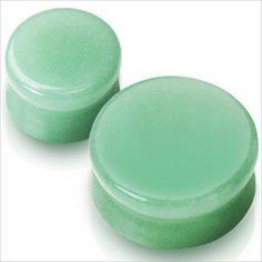 PAIR-Organic-Green-Jade Stone Saddle Ear-Plugs Gauges Double Flare
