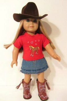 Western Horse Skirt Outfit ~18 Inch Doll Clothes For American Girl HAT,BOOTS,SKIRT,HORSE SHIRT !!!! by The Wishlist Store. $27.95. Western Horse Outfit ~ 4 Piece Set for American Girl Doll or 18 Inch Dolls.. Includes: Skirt, Horse Shirt, Brown Cowboy Boots, Western Hat !. This is a wonderful Western Cowgirl or Horselover's doll outfit that includes Hat, Skirt, Horse Top and Zip up Cowgirl Boots with tassels!