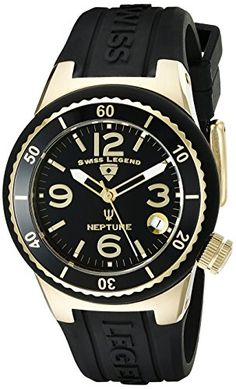 Swiss Legend Women's 11840P-YG-01 Neptune Black Dial Black Silicone Watch. Swiss quartz movement. Sapphitek crystal; gold ion-plated stainless steel case with black silicone cover; black silicone strap with logo. Date window at 4:00. Black dial with gold tone and white hands, gold tone hour markers and Arabic numerals; luminous; unidirectional gold ion-plated stainless steel bezel with black top ring; screw-down gold ion-plated stainless steel crown. Water resistant to 330 feet (100 M)…