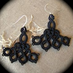 Tatted Lace Earrings  Left Of Center by TotusMel on Etsy, $15.00