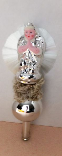 VINTAGE PRAYING ANGEL BLOWN GLASS HAND PAINTED TOPPER CHRISTMAS TREE  ORNAMENT