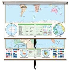 Beginner classroom wall maps are ideal for PRE-K through 1st grade. Features bright colors with easy-to-identify land masses and major bodies of water. The U.S. map shows state names and capitals. The world edition identifies only continents and oceans. #Globes #Education #geography #teaching #classroommaps #classroomglobes