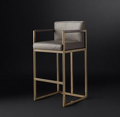Brass Bar Stools Upholstered In White Leather Modern