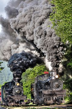 Two Train Race is a photograph by Tom Steele. Two Shay locomotives side by side at Cass West Virginia. Source fineartamerica.com