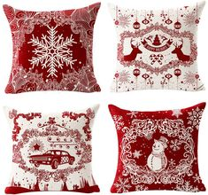 FELENIW Set of 4 Merry Christmas Happy New Year Snowflake Snowman Deer Car Ball Bell Leaves Pattern Pine Tree Throw Pillow Cover Cushion Case Cotton Linen Material Decorative Square Front Door Christmas Decorations, Christmas Front Doors, Merry Christmas And Happy New Year, Perfect Christmas Gifts, Christmas Pillow Covers, Christmas Cover, Throw Pillow Covers, Throw Pillows, Pillow Set