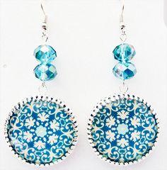 1034+ - Turquoise and white cabochon, silver finish bezel, turquoise crystals, designer cabochon, cabochon earrings, cabochon jewelry by EarringsBraceletsEtc on Etsy