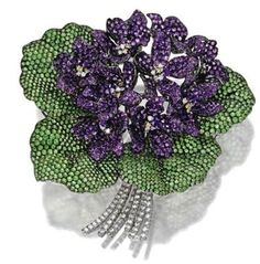 Homage à Dürer', a Tsavorite Garnet, Amethyst and Diamond Violet Bouquet Brooch signed Michele della Valle Antique Jewelry, Vintage Jewelry, Sweet Violets, Purple Jewelry, Lotus Jewelry, Brooch Bouquets, Brooches, Selling Jewelry, Beaded Flowers
