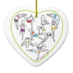Yoga Heart Ornament available here: http://www.zazzle.com/yoga_heart_ornament-175788522233376473?rf=238080002099367221&tc= $20.95 #Christmas #Holidays #yoga