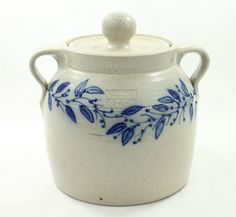 Salmon Falls Pottery Covered Crock Blueberry Vine Stoneware Cobalt Blue 1999 | eBay