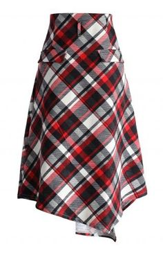 Swing Melody Asymmetric Skirt in Red Plaid - Retro, Indie and Unique Fashion