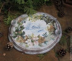 """Купить """"Зимний день"""" поднос - Новый Год, зима, кухня, рождество, белый, голубой, зеленый"""