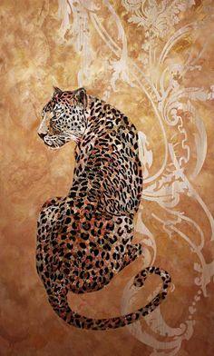 Панно Большая кошка пример интеграции мозаики в плоскости декоративной штукатурки